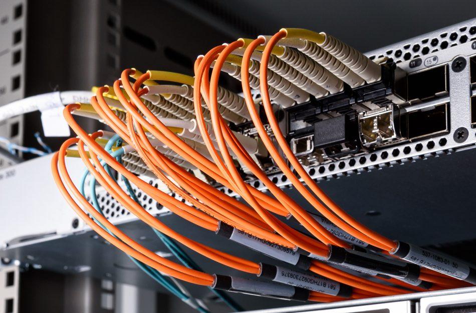 Internet wires in a data center