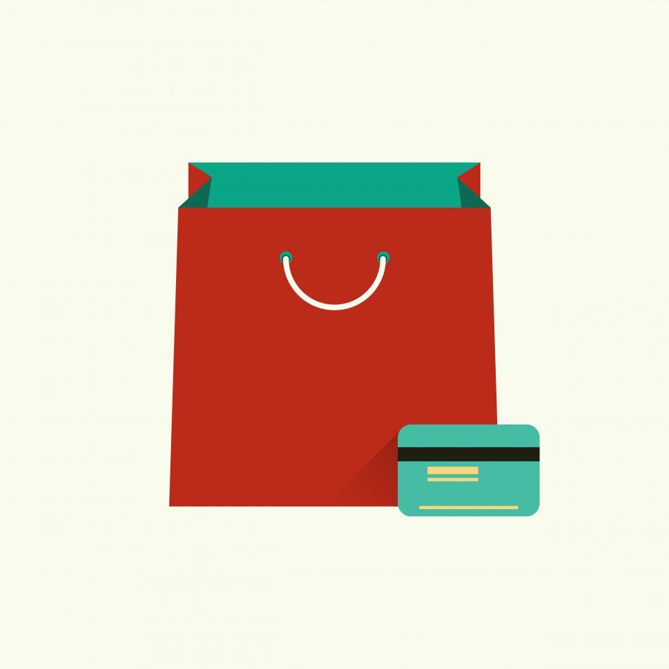 Shopping bag and credit card