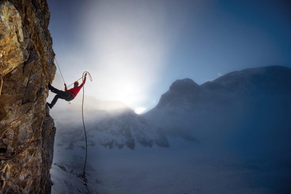 Man climbing montain