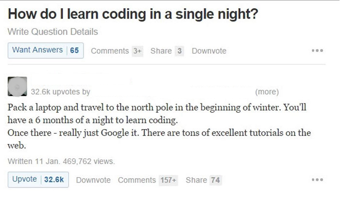 Learning to code in a single night