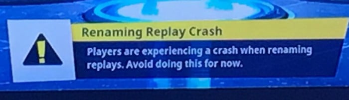 Renaming Replay Crash. Players are experiencing a crash when renaming replays. Avoid doing this for now.