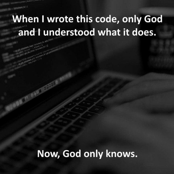 Only you and God knows what the code means