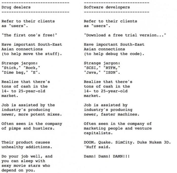 Similarities between drug dealer and software programmer