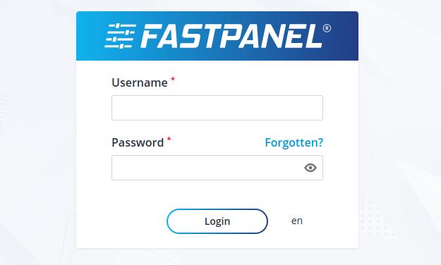 FASTPANEL login screen